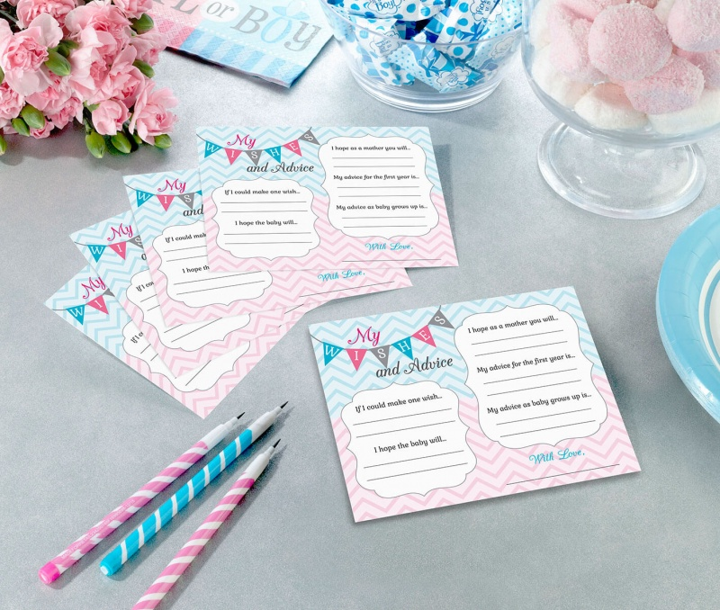 Gender Reveal Baby Shower 24 Wishes Cards