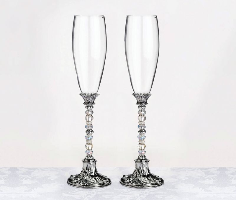 Silver Beaded Toasting Glasses