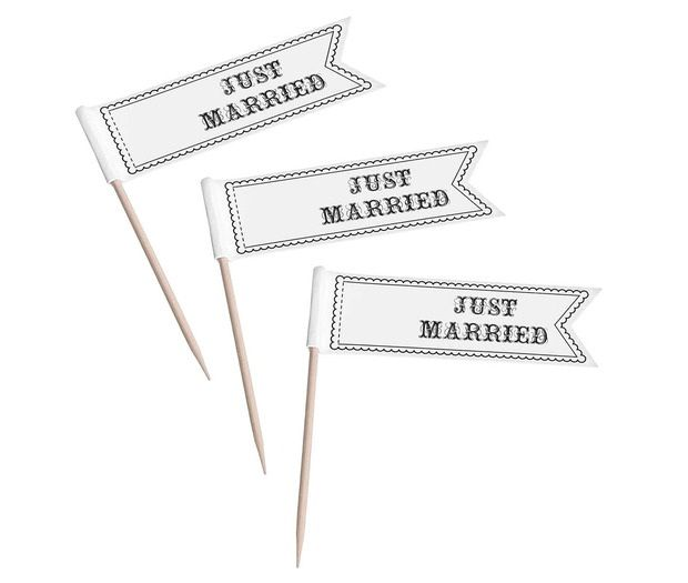 12 Just Married Cupcake Pick