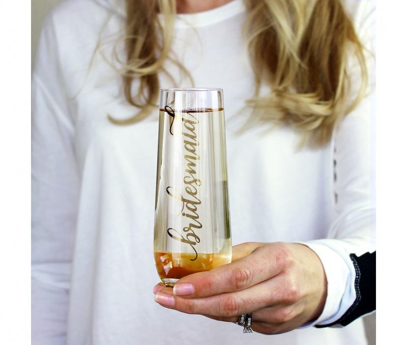 Gold Bridesmaid Stemless Champagne Gla