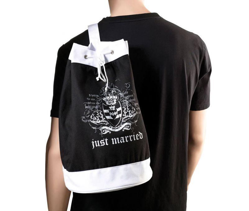 Black Just Married Beach Bag