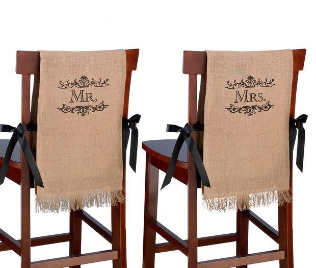 Mr. & Mrs. Rustic Burlap Chair Cover