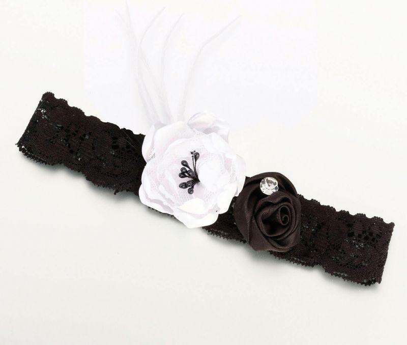 Vintage Lace Black & White Garter