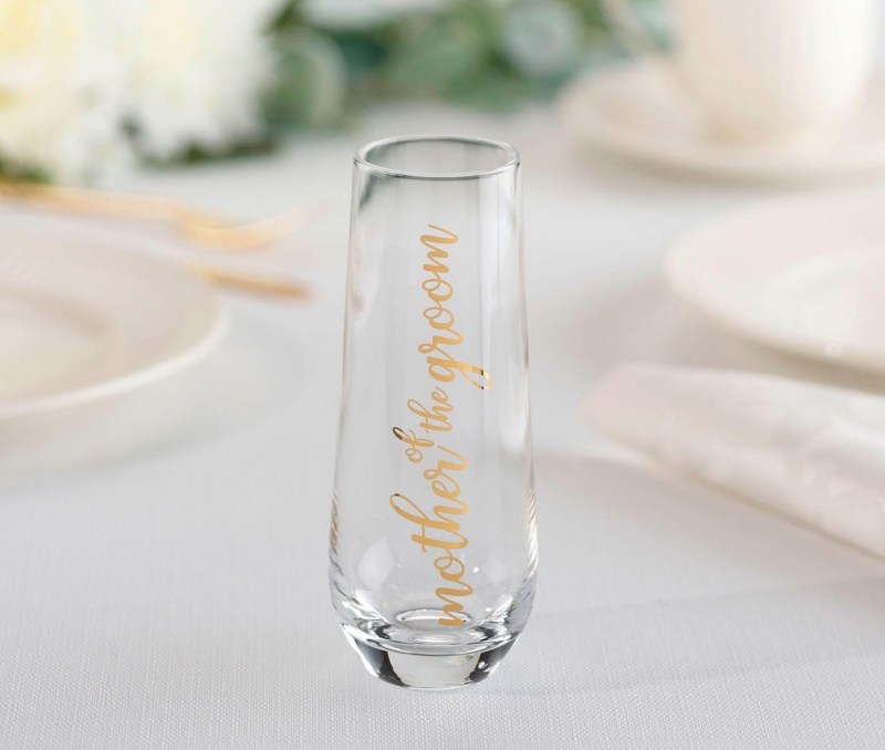Mother Of The Groom Stemless Champagne Glass And Wedding Toasting Glass