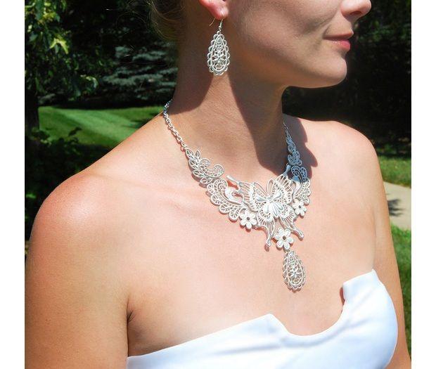 Silver Butterfly Jewelry Set