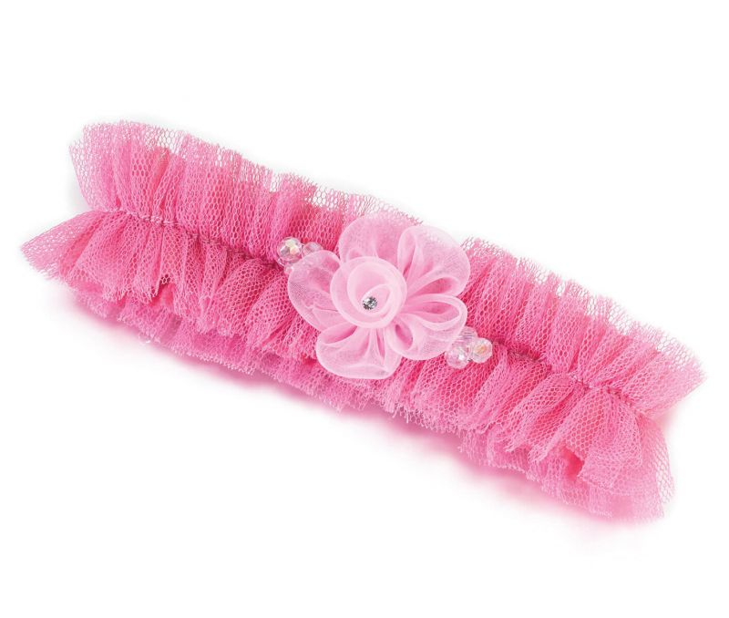 Pink Tulle Garter With Flower