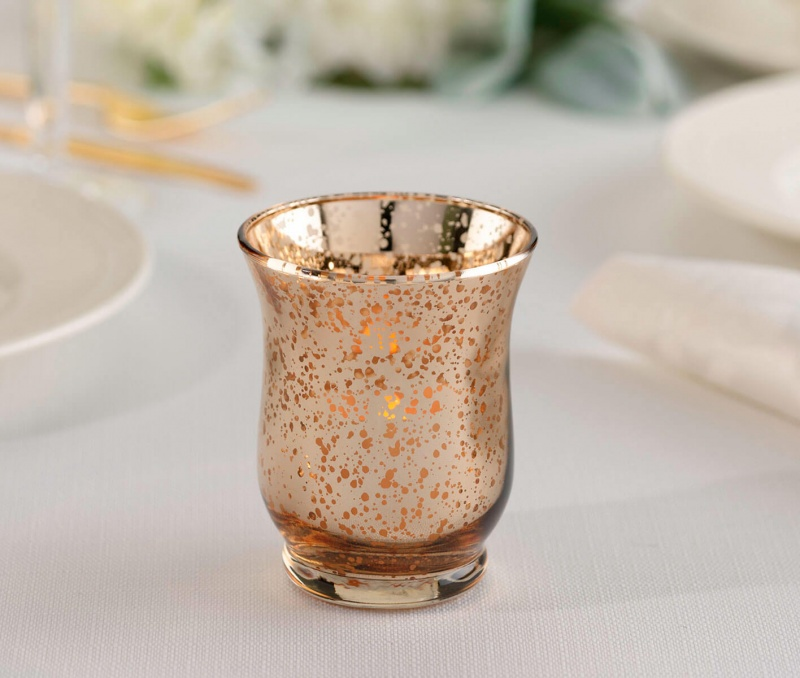 Gold Mercury Tulip Shaped Glass Votive Or Tea Light Holders In Set Of 4