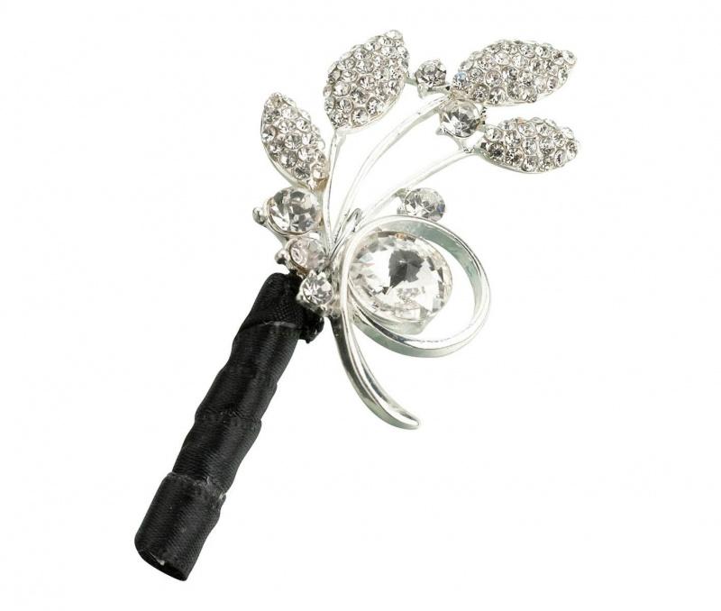 Silver Rhinestone Leaf Boutonniere