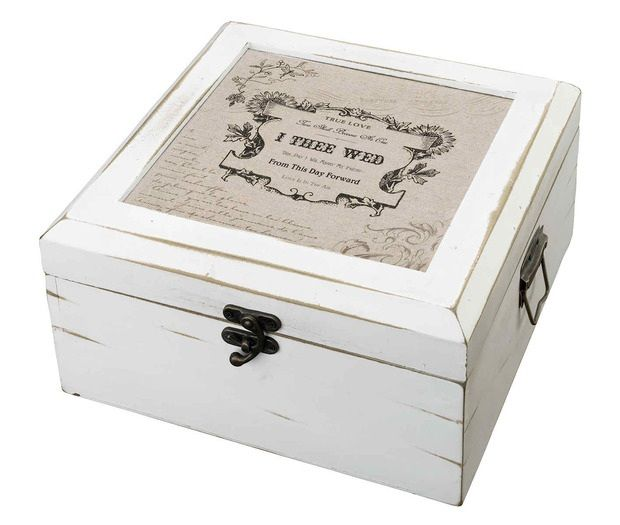 Antique White Wood I Thee Wed Card Box