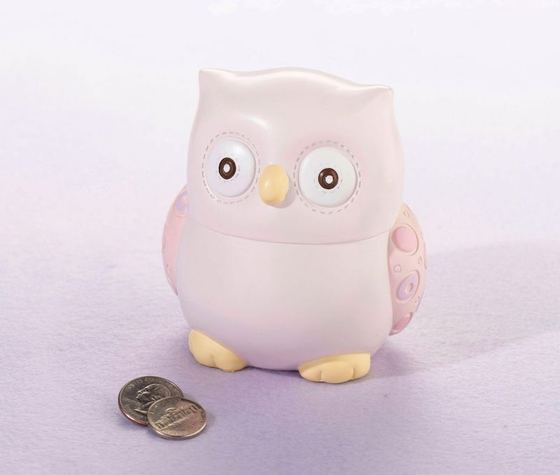 Pink Owl Baby Coin Bank