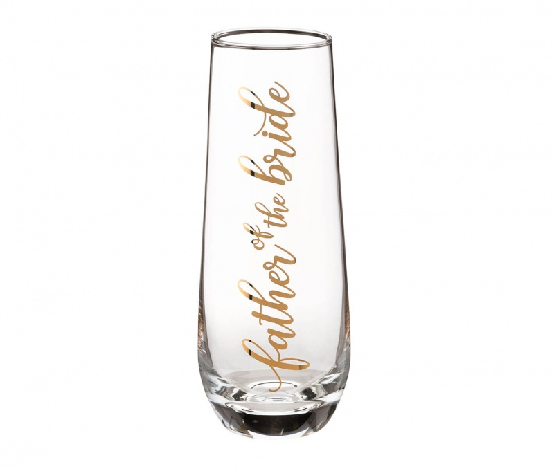 Father Of The Bride Stemless Champagne Glass And Wedding Toasting Glass