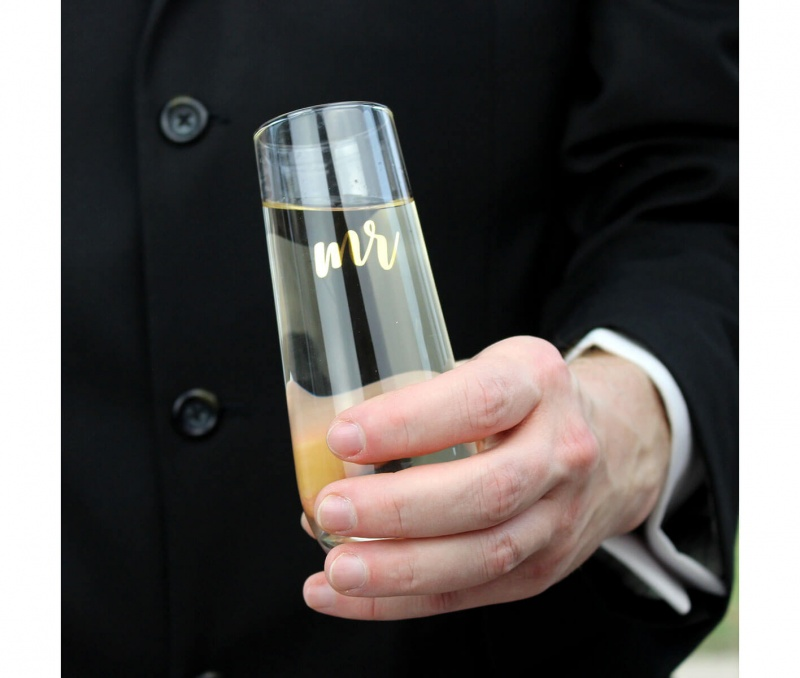 Gold Mr. Stemless Champagne Glass