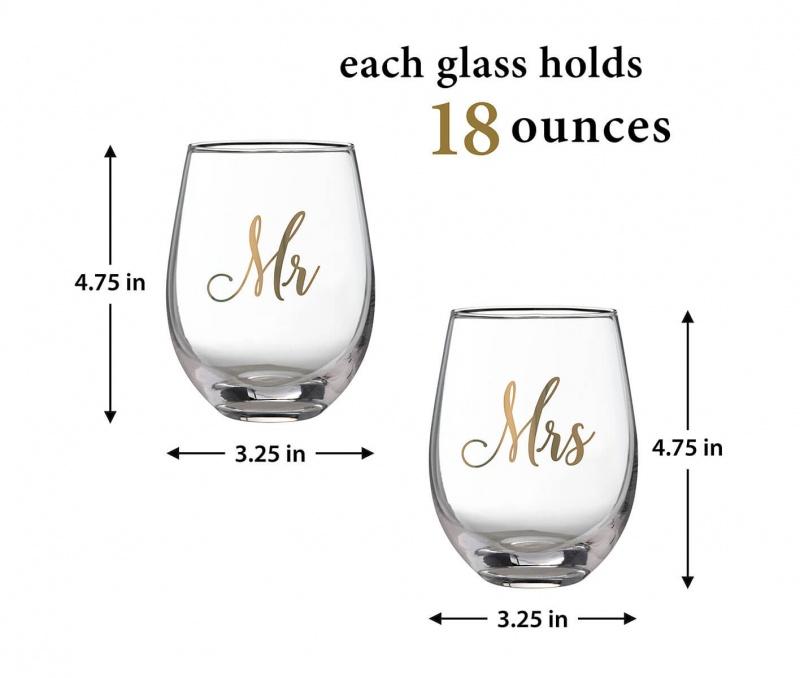 Mr & Mrs Stemless Wine Glass Set