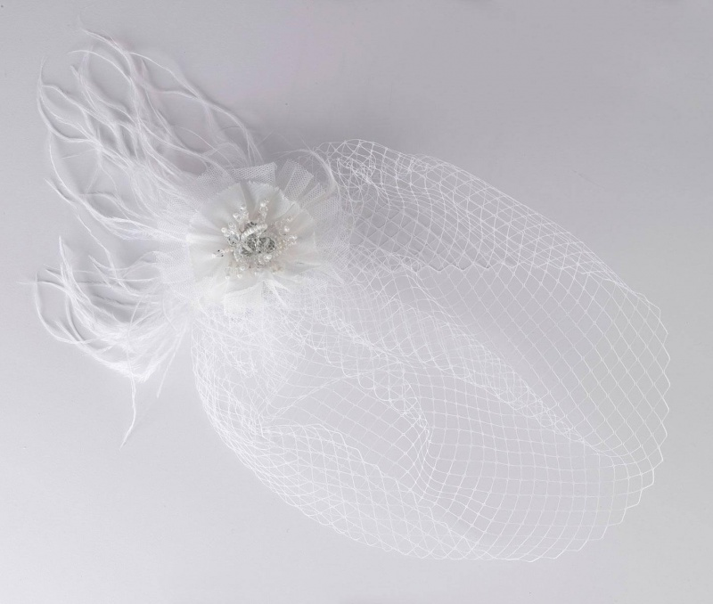 White Veil With Feather