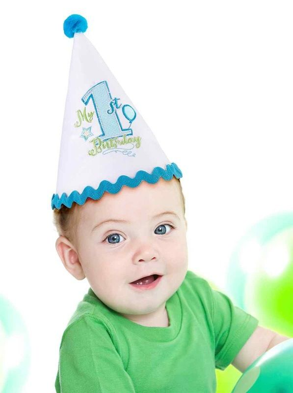 First Birthday Party Hat Blue Trim