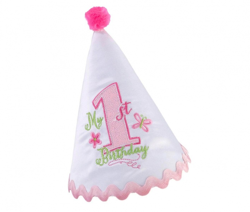 First Birthday Party Hat Pink Trim