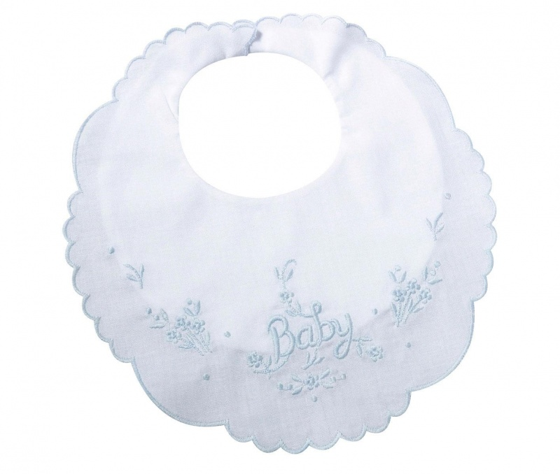 White Cotton Baby Bib Blue Trim