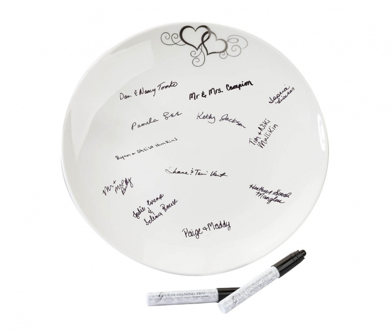 Circle Guest Signing Plate With 2 Pens