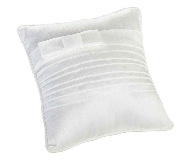 White Pleated Silk Ring Bearer Pillow
