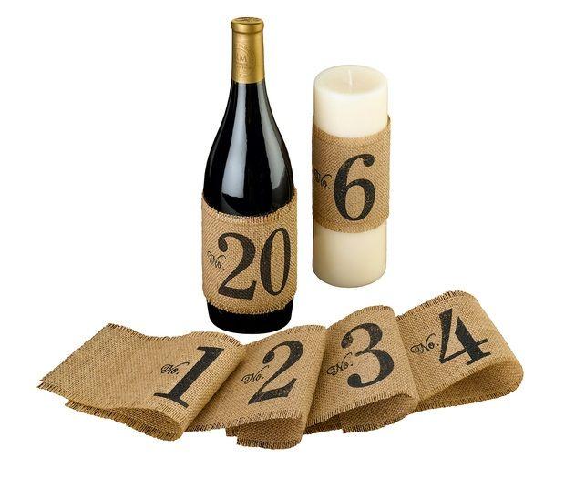 Rustic Burlap Table Number Wraps 1-20