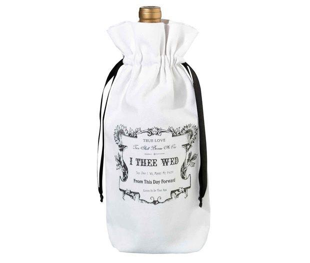 Black & White I Thee Wed Wine Bag