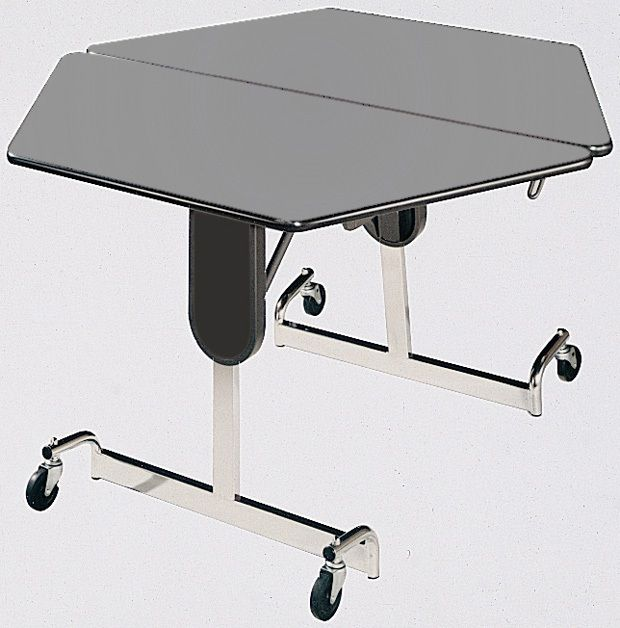 """Mitchell 48"""" Hexagon Fold N Roll Adjustable Table with Chrome Legs: 22"""" to 29"""" Height"""