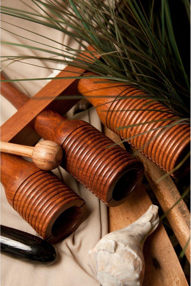 Dobani 3-Bell Wooden Agogo W/ Mallet