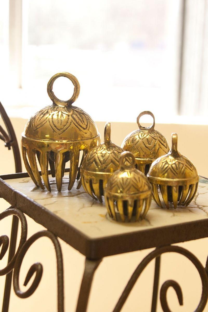 "Dobani Graduated Solid Brass Elephant Bells 5-Piece 1.5-To-3"""