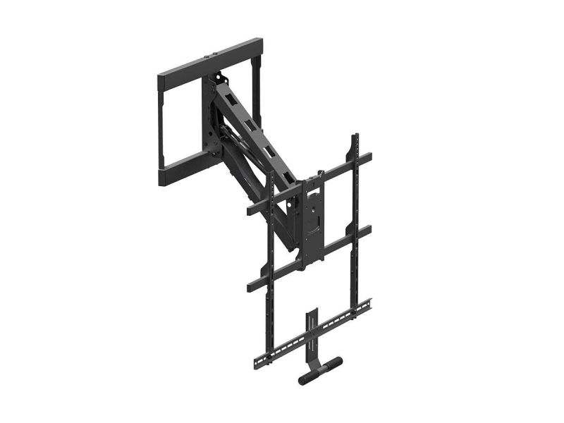 Monoprice Above Fireplace Pull-down Full-motion Articulating Tv Wall Mount W/ Floating Soundbar Mount- For Tvs 55in To 80in, Max Weight 132lbs, Vesa Patterns Up To 800x500, Rotating, Height Adjustable
