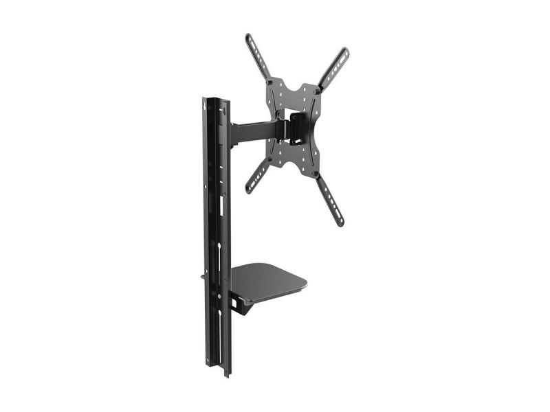 Monoprice Ez Series Full-motion Articulating Tv Wall Mount Bracket With Media Shelf Bracket - For Tvs 32in To 55in, Max Weight 66 Lbs., Extension Range Of 3.8in To 9.4in, Vesa Patterns Up To 400x400