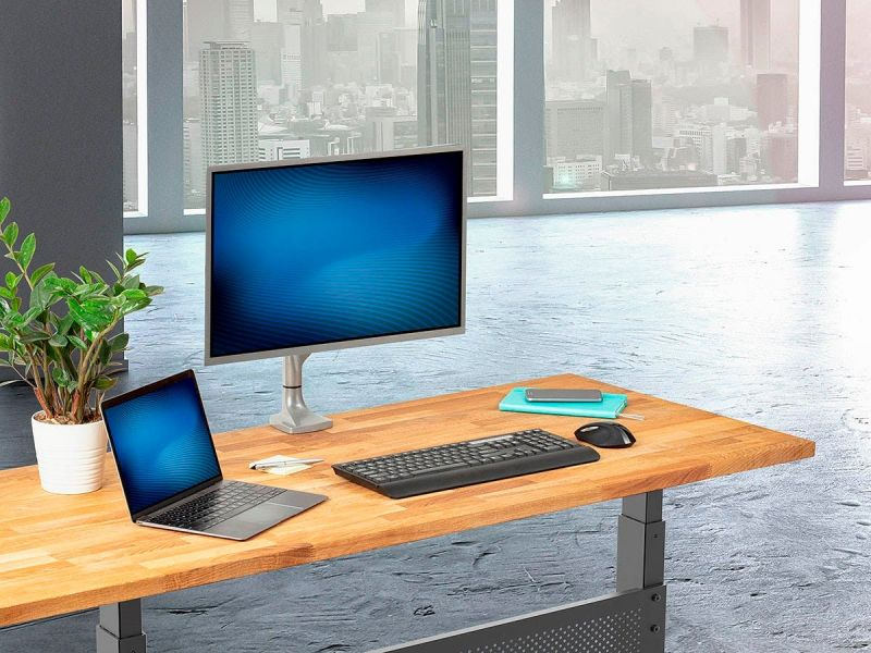 Workstream By Monoprice Adjustable Gas Spring Desk Mount For 15~34in Monitors, Silver