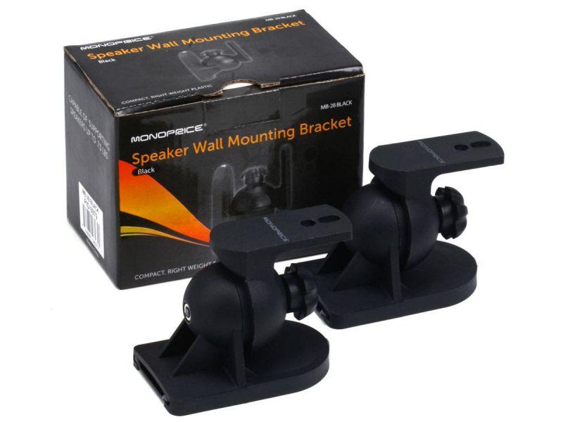 Monoprice Low Profile 7.5 Lb. Capacity Speaker Wall Mount Brackets (Pair), Black
