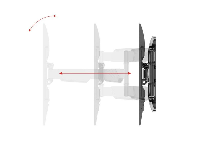 Monoprice Slimselect Series Low Profile Full-motion Articulating Tv Wall Mount Bracket For Tvs 37in To 80in, Max Weight 99 Lbs., Extension Range From 1.9in To 19in, Vesa Patterns Up To 600x400