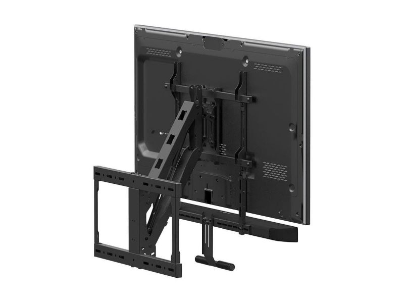 Monoprice Above Fireplace Pull-down Full-motion Articulating Tv Wall Mount W/ Floating Soundbar Mount For Tvs 42in To 65in, Max Weight 62 Lbs, Vesa Patterns Up To 600x500, Rotating, Height Adjustable
