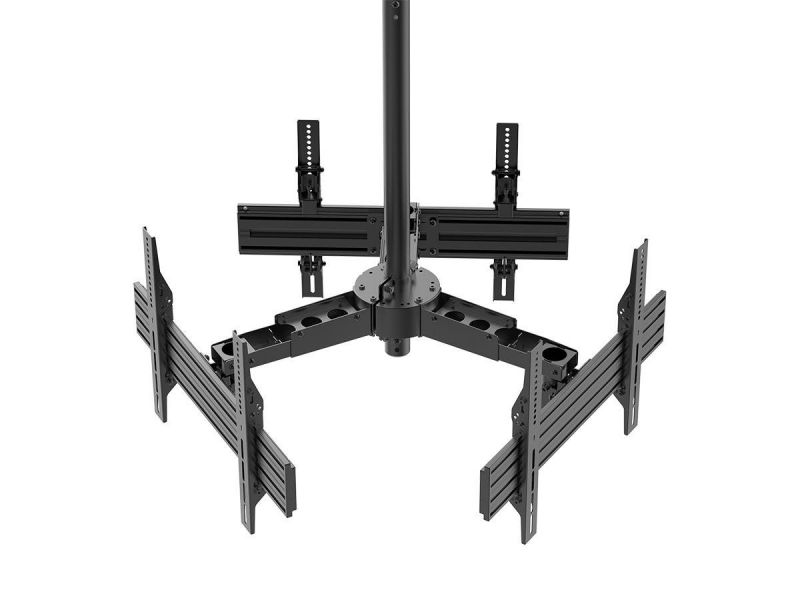 Monoprice Commercial Series Adjustable Triple Sided Ceiling Tv Mount Bracket, For Led Displays 32In To 65In, Max Weight 66Lbs Per Screen