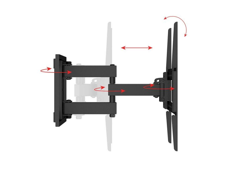 Monoprice Ez Series Full Motion Articulating Tv Wall Mount Bracket For Led Tvs Up To 70In, Max Weight 99 Lbs., Vesa Patterns Up To 600X400, Rotating