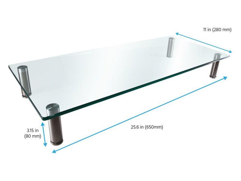 Workstream By Monoprice Medium Multimedia Desktop Monitor Stand, Clear Glass