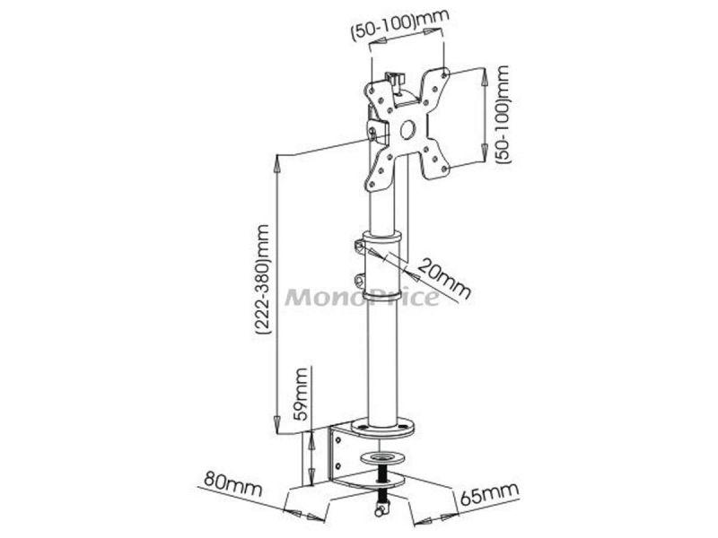 Monoprice Adjustable Tilting Desk Mount Bracket For 13~30In Monitors Up To 33 Lbs, Black