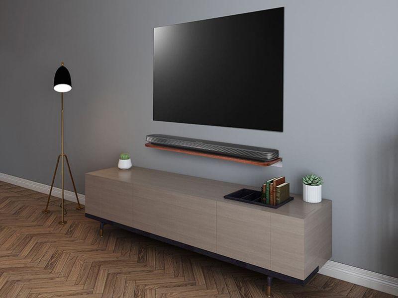 """Mono"""" Mahogany Universal Soundbar Shelf 33lb Weight Capacity"""