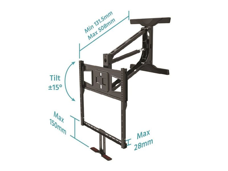 Monoprice Above Fireplace Mantel Pull-down Full-motion Articulating Tv Wall Mount Bracket - For Led Tvs 40in To 63in, Max Weight 70.5lbs, Vesa Patterns Up To 600x400, Rotating , Height Adjustable