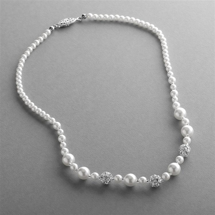 Dainty Wedding Necklace With Pearls & Rhinestone Fireballs - White