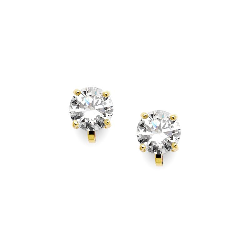 Gold Clip-On Earrings With 2 Carat 8Mm Cz Solitaire