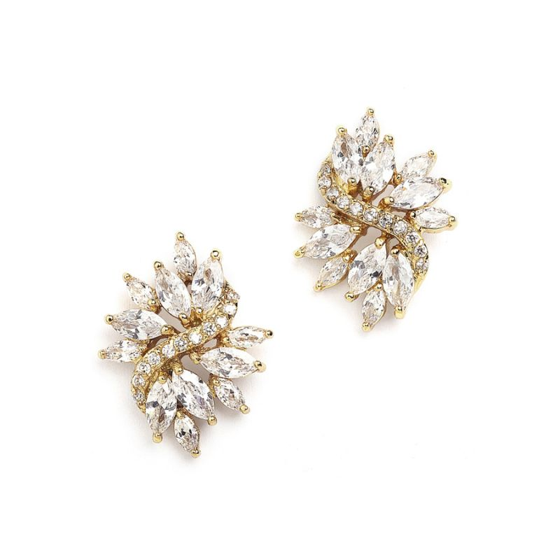 Gold Cubic Zirconia Cluster Bridal Earrings With Delicate Marquis Stones