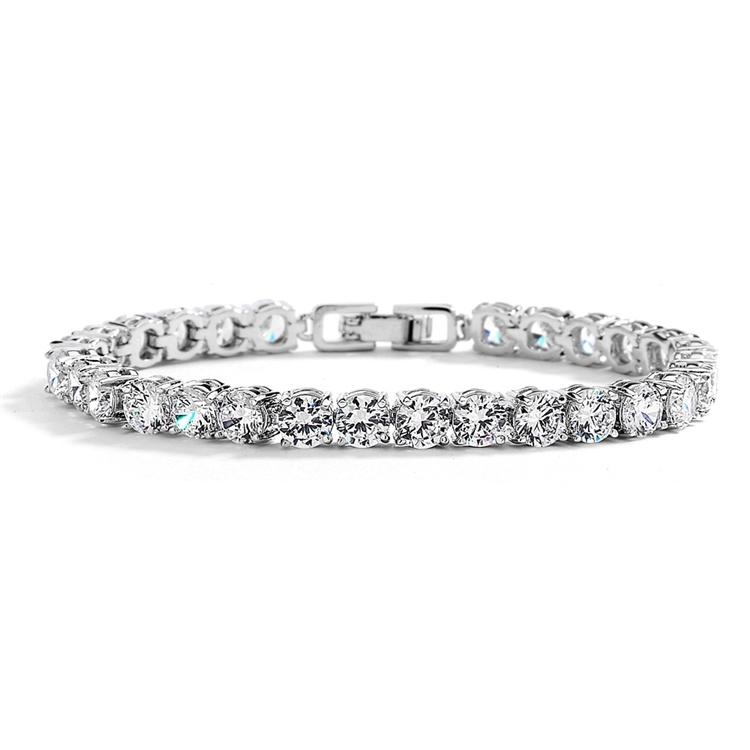 Glamorous Silver Rhodium Bridal Or Prom Tennis Bracelet In Petite Size