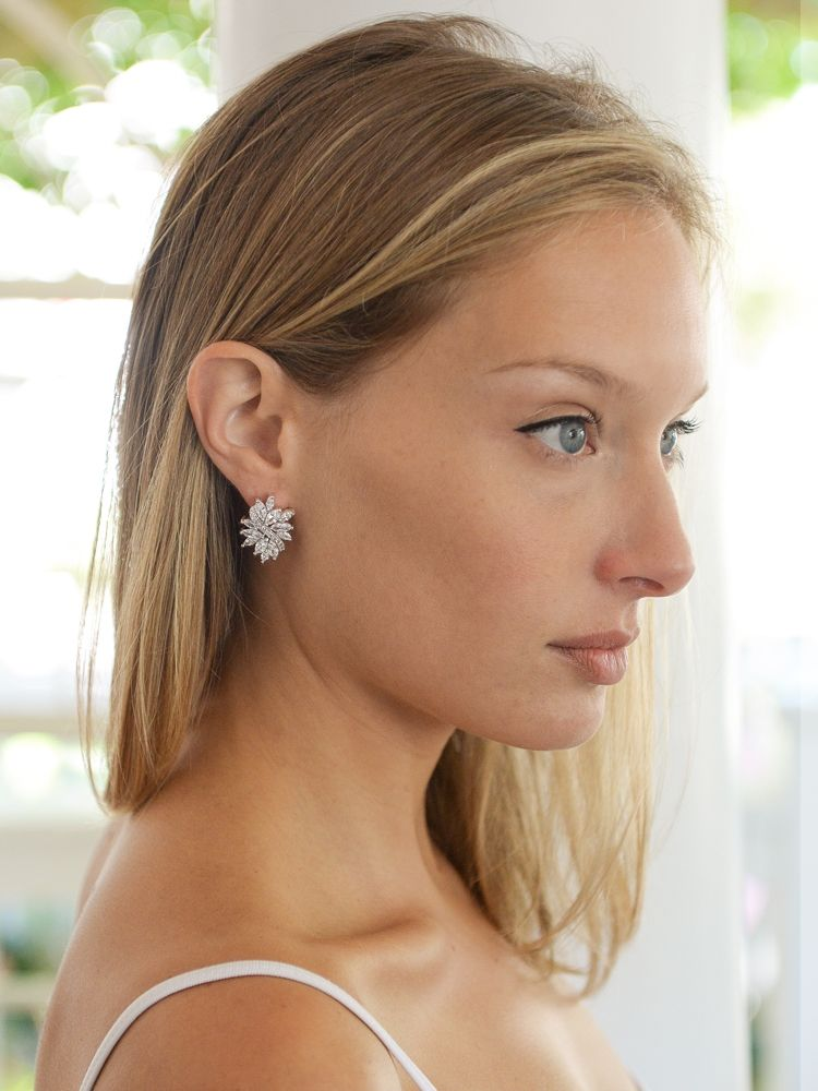 Cubic Zirconia Cluster Wedding Earrings With Delicate Marquis Stones