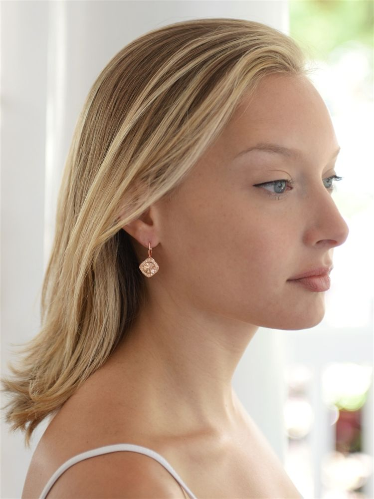 Tailored Earrings In Rose Gold For Wedding Or Prom