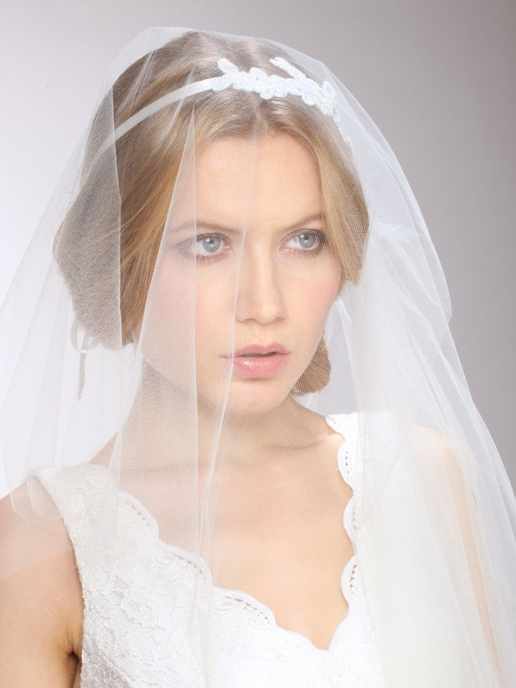 Couture Asymmetrical Hip Length Veil With White Lace Headband & Blusher
