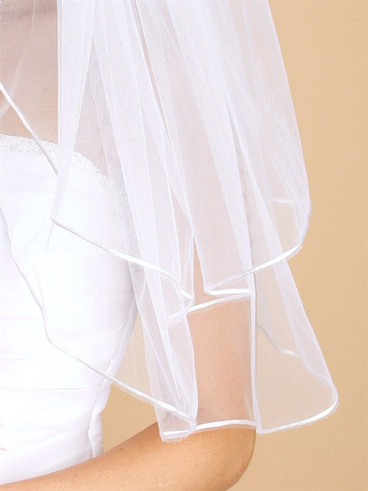 "2-row 27"" Elbow Length Ivory Bridal Veil With Rounded Satin Cord Edge"