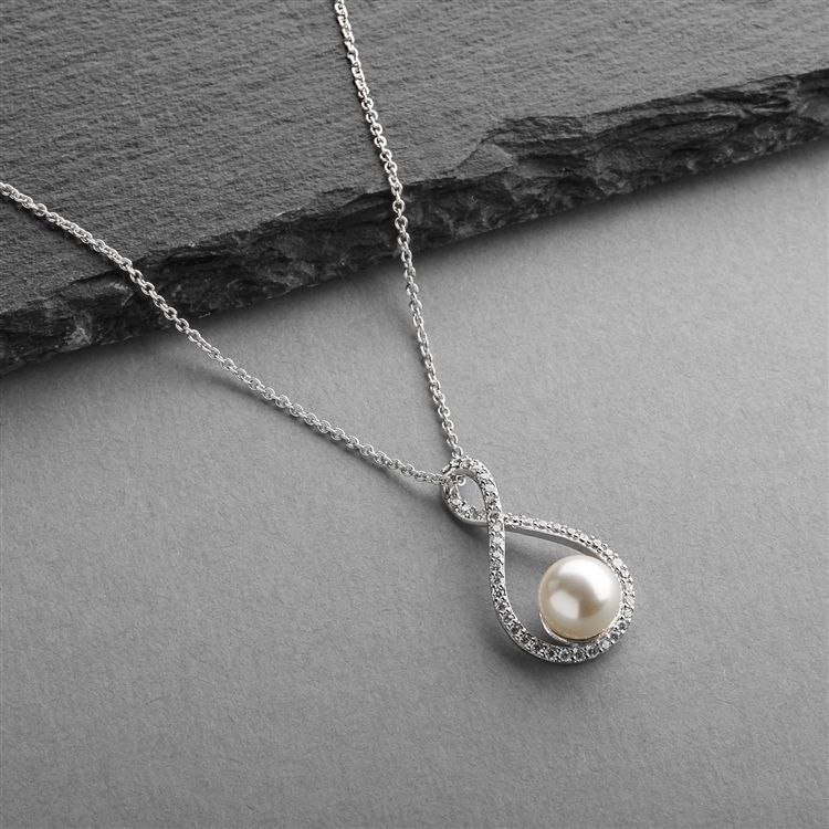 Eternity Symbol Cubic Zirconia Wedding Necklace With Pearl
