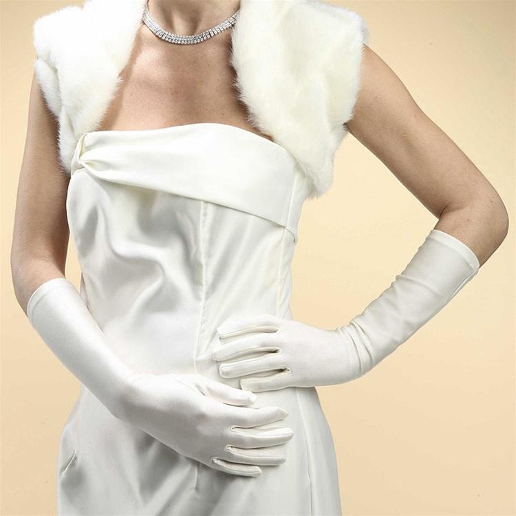 Below Elbow Wedding Or Prom Gloves In Matte Satin - White